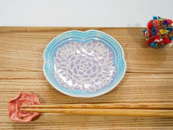 画像1: 紋花彩泥掻落縁取り 輪花豆鉢(紫×水色) 【nicorico】 (1)