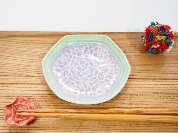 画像1: 紋花彩泥掻落縁取り 六角豆鉢(紫×若草) 【nicorico】 (1)