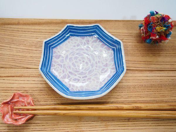 画像1: 紋花彩泥掻落縁取り ギザギザ豆鉢(紫×青) 【nicorico】 (1)