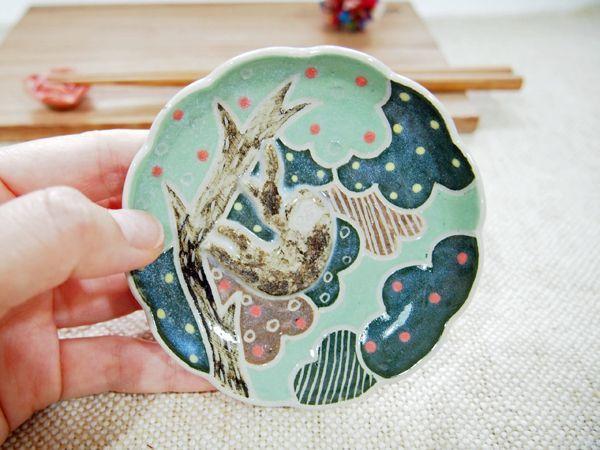 画像1: なまけもの豆皿1 【nicorico】 (1)