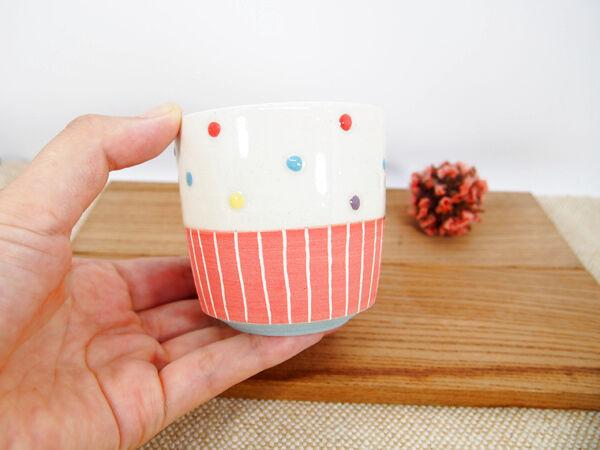 画像1: ハーフ&マルチドット ちびカップ(濃ピンク×水色)【nicorico】 (1)