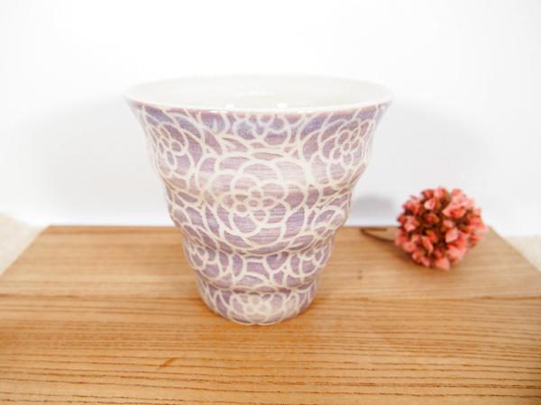 画像1: 紋花彩泥掻落 naminami cup(紫) 【nicorico】 (1)
