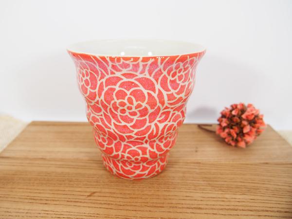 画像1: 紋花彩泥掻落 naminami cup(赤) 【nicorico】 (1)