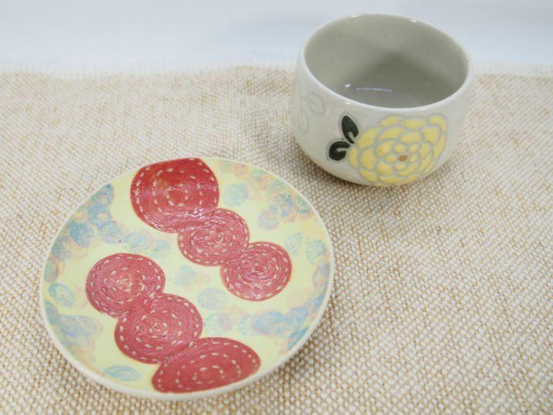 画像1: 【おうち時間セット3-4】紋花彩泥 豆鉢&ポップ 豆皿(黄色) 【nicorico】 (1)