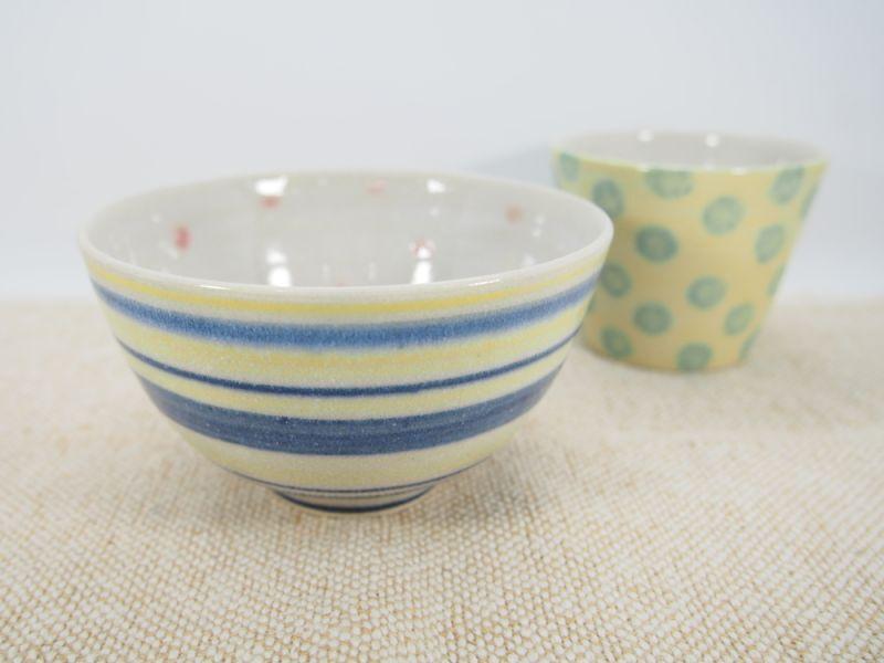 画像1: 【おうち時間セット3-37】しましま×水玉ごはん茶碗&ドットちびカップ(黄)【nicorico】 (1)
