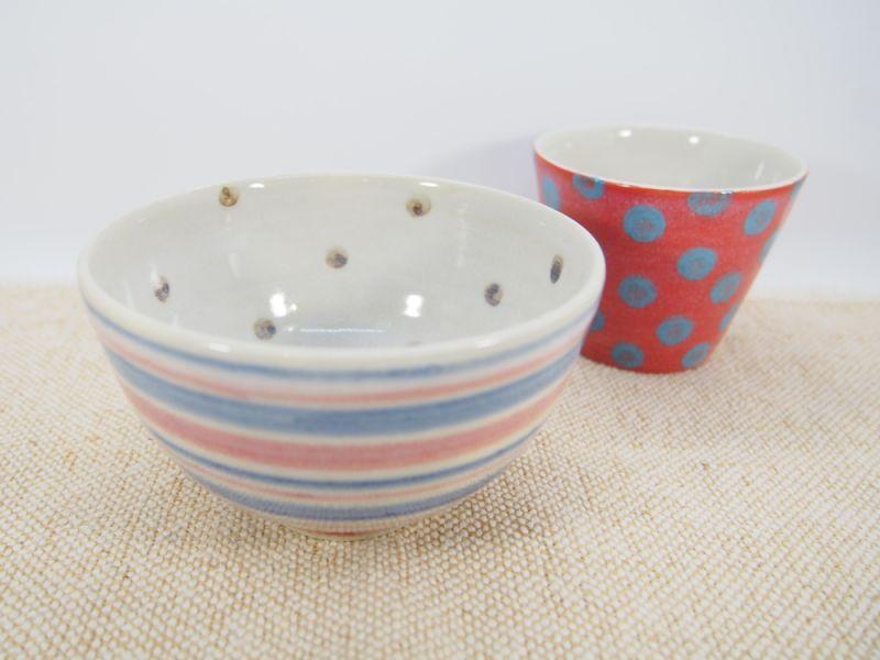 画像1: 【おうち時間セット3-36】しましま×水玉ごはん茶碗&ドットちびカップ(赤)【nicorico】 (1)