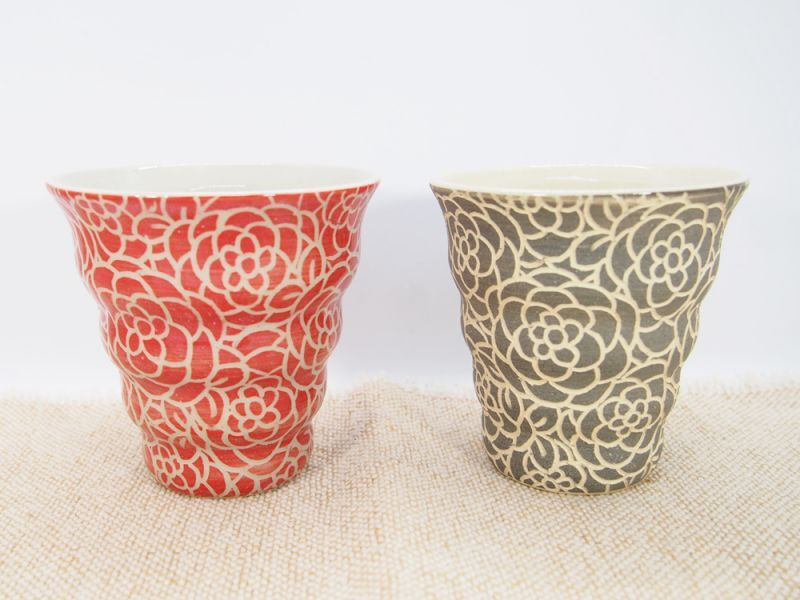 画像1: 【おうち時間セット4-6】紋花彩泥掻落 naminami cup×2個(赤・グレー)【nicorico】 (1)