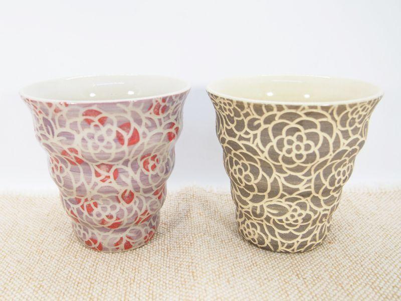 画像1: 【おうち時間セット4-5】紋花彩泥掻落 naminami cup×2個(紫ドット・グレー【nicorico】 (1)