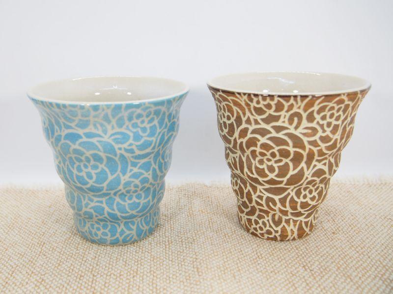 画像1: 【おうち時間セット4-18】紋花彩泥掻落 naminami cup×2個(水色・甲和土)【nicorico】 (1)