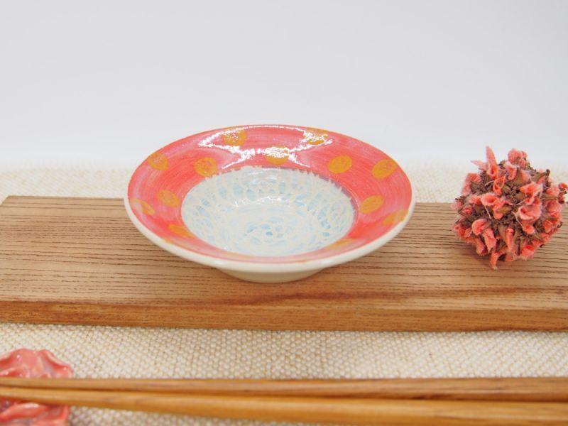 画像1: 紋花彩泥掻落ドット 豆皿(水色×赤) 【nicorico】 (1)