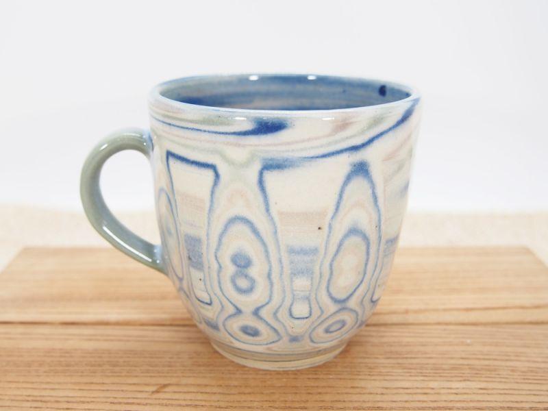 画像1: 練上マーブル マグカップ(青)2【甲和焼 芝窯】 (1)