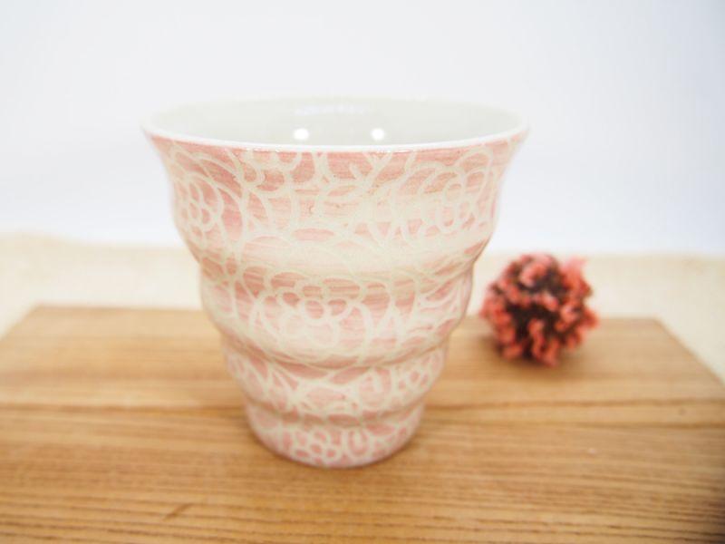 画像1: 紋花彩泥掻落 naminami cup(ピンク) 【nicorico】 (1)