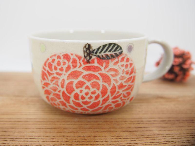 画像1: 赤りんご マグカップ(しかく)【nicorico】 (1)