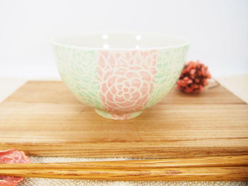 画像1: 紋花彩泥掻落ストライプ ごはん茶碗 (ピンク×若草)【nicorico】 (1)
