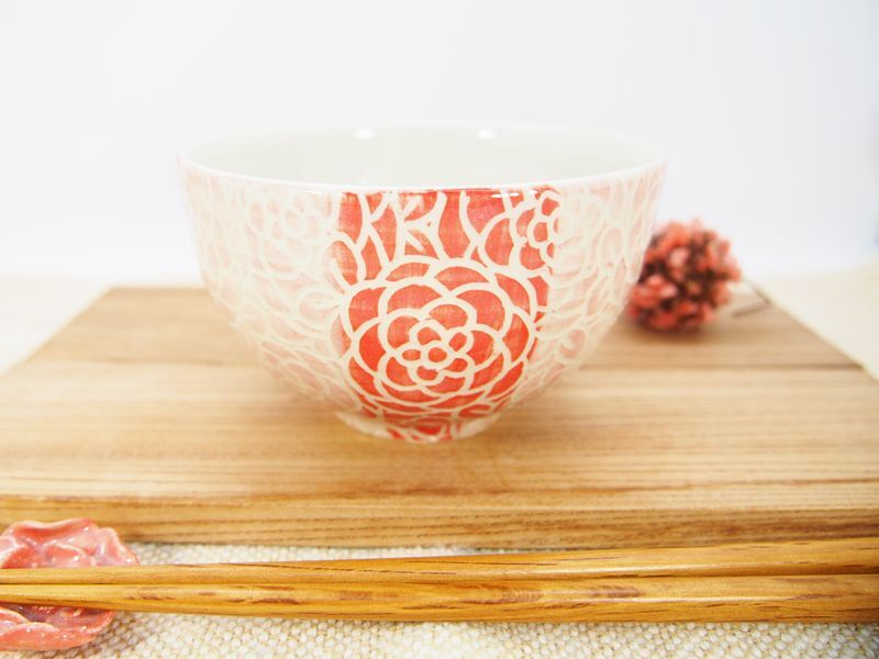 画像1: 紋花彩泥掻落ストライプ ごはん茶碗 (ピンク×赤)【nicorico】 (1)