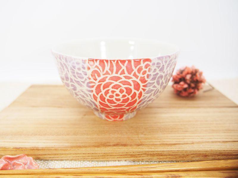 画像1: 紋花彩泥掻落ストライプ ごはん茶碗 (赤×紫)【nicorico】 (1)