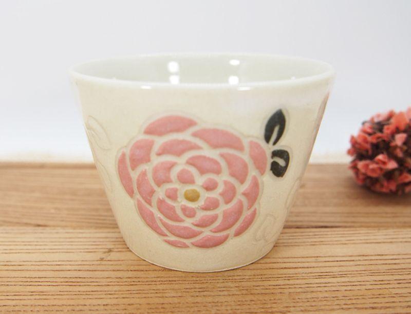 画像1: 紋花彩泥 ゆのみ・そば猪口 (ピンク) 【nicorico】 (1)