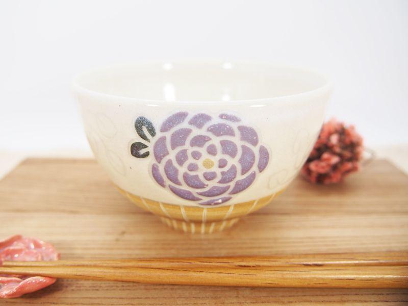 画像1: 紋花彩泥 ごはん茶碗(紫) 【nicorico】 (1)