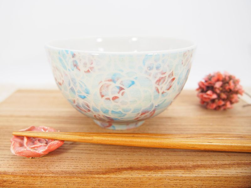 画像1: 紋花彩泥掻落マルチドット ごはん茶碗 4 【nicorico】 (1)