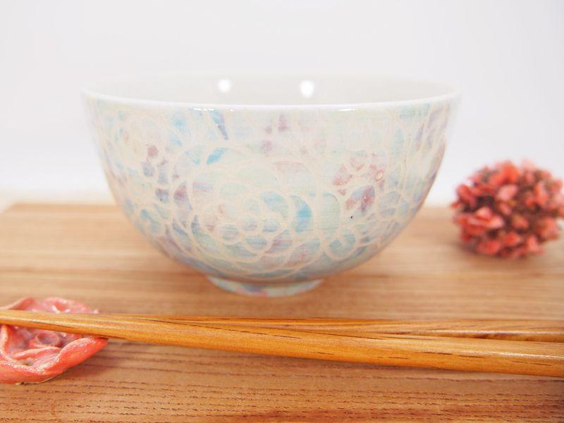 画像1: 紋花彩泥掻落マルチドット ごはん茶碗 6 【nicorico】 (1)