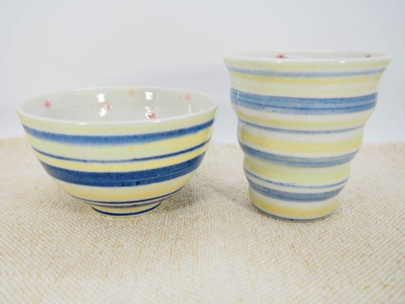 画像1: 【おうち時間セット5-14】しましま×水玉 naminami cup&ごはん茶碗 【nicorico】 (1)