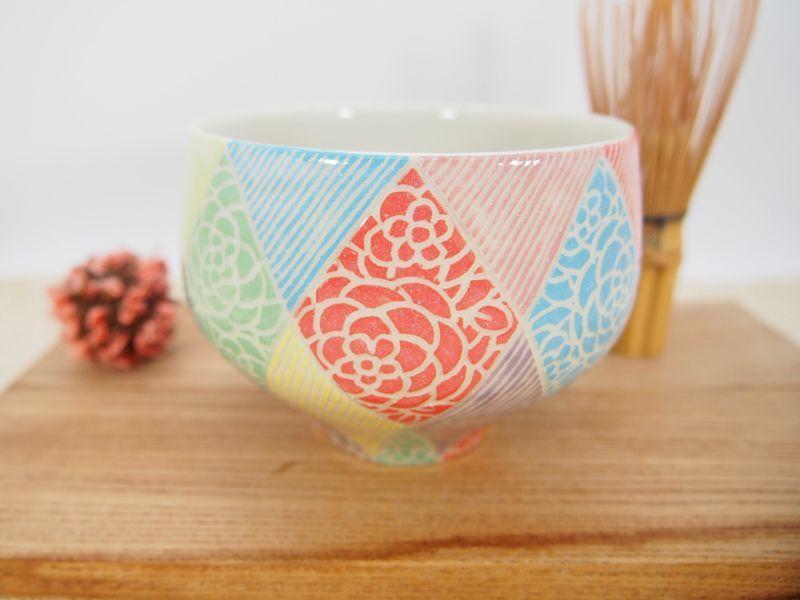 画像1: 紋花彩泥掻落モザイク 抹茶茶碗 1 【nicorico】 (1)