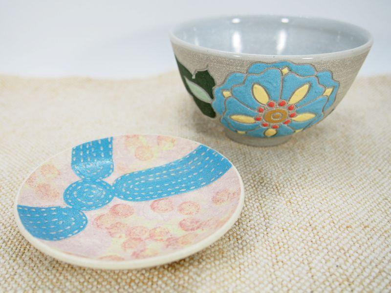 画像1: 【おうち時間セット5-17】紋花彩泥焼〆ごはん茶碗&しずく紋豆皿 【nicorico】 (1)