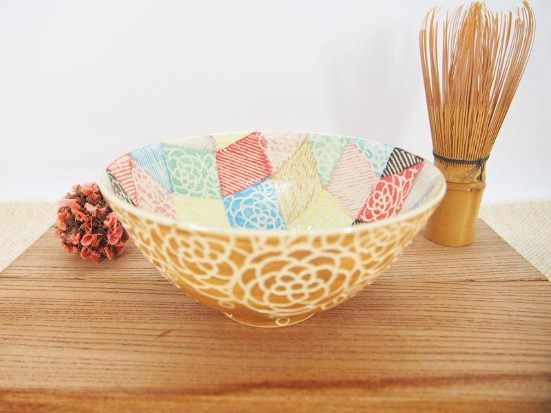 画像1: 紋花彩泥掻落モザイク 抹茶茶碗 (焼〆/甲和土) 【nicorico】 (1)