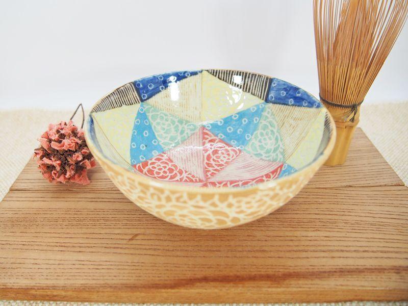 画像1: 紋花彩泥掻落モザイク 抹茶茶碗 (焼〆/茶色) 【nicorico】 (1)