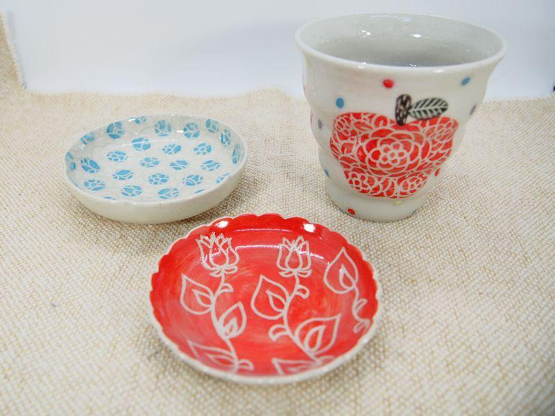 画像1: 【おうち時間セット5-27】りんごnaminami cup&豆皿2枚セット 【nicorico】 (1)