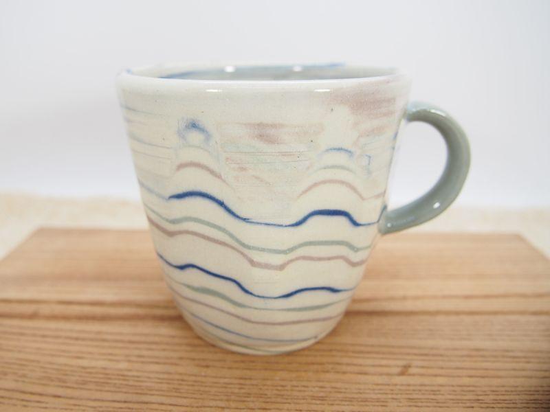 画像1: 練上マーブル マグカップ(青)5【甲和焼 芝窯】 (1)