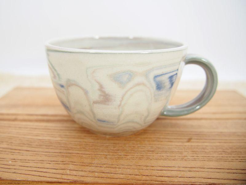 画像1: 練上マーブル ティーカップ・スープカップ(青)1【甲和焼 芝窯】 (1)