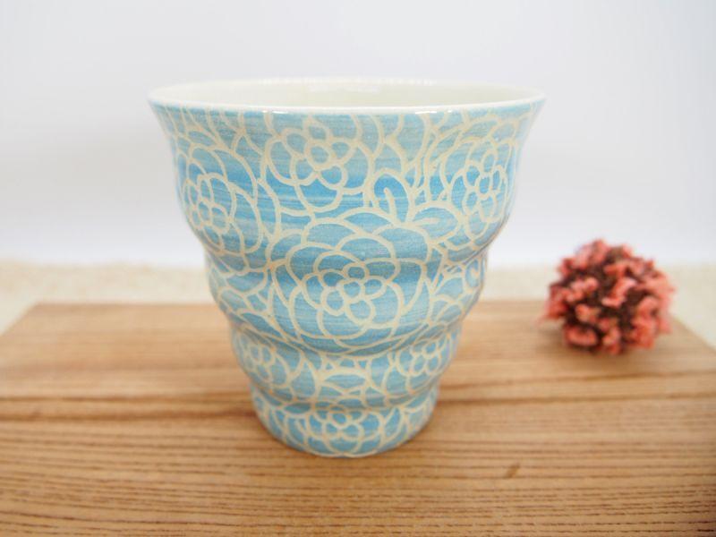画像1: 紋花彩泥掻落 naminami cup(水色) 【nicorico】 (1)